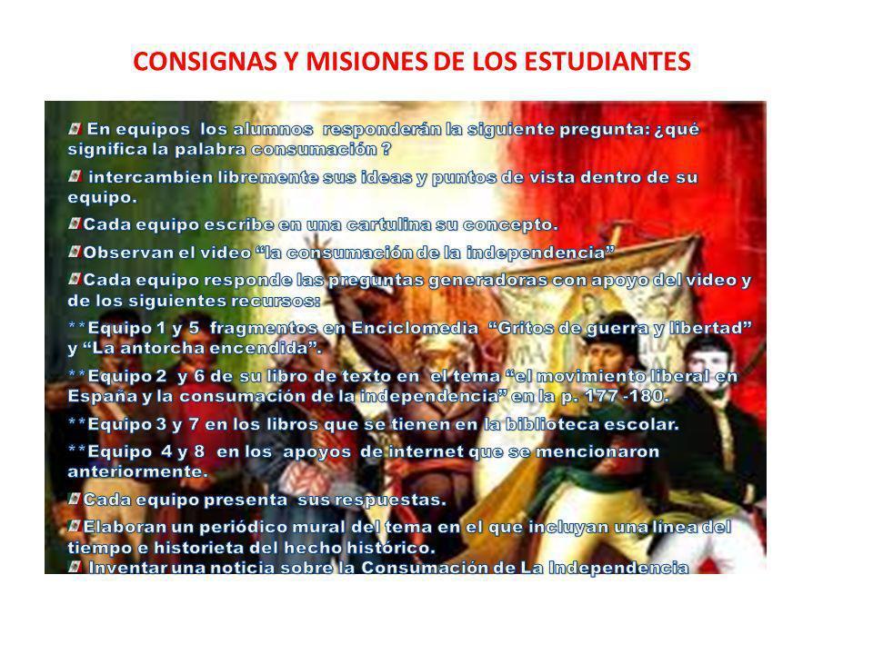 CONSIGNAS Y MISIONES DE LOS ESTUDIANTES