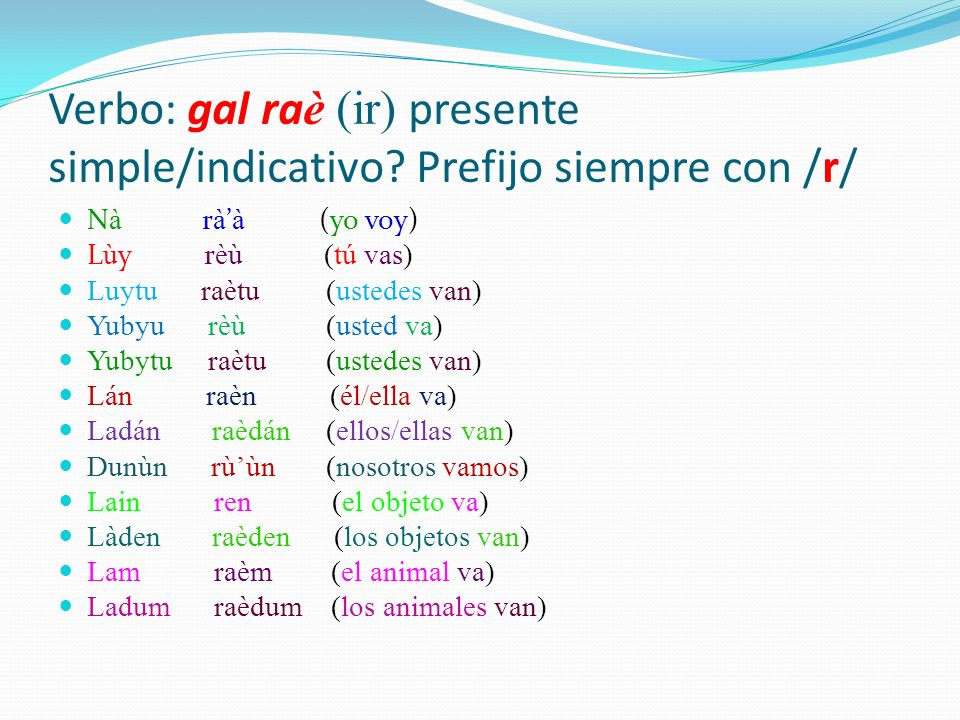 Verbo: gal ra è (ir) presente simple/indicativo.