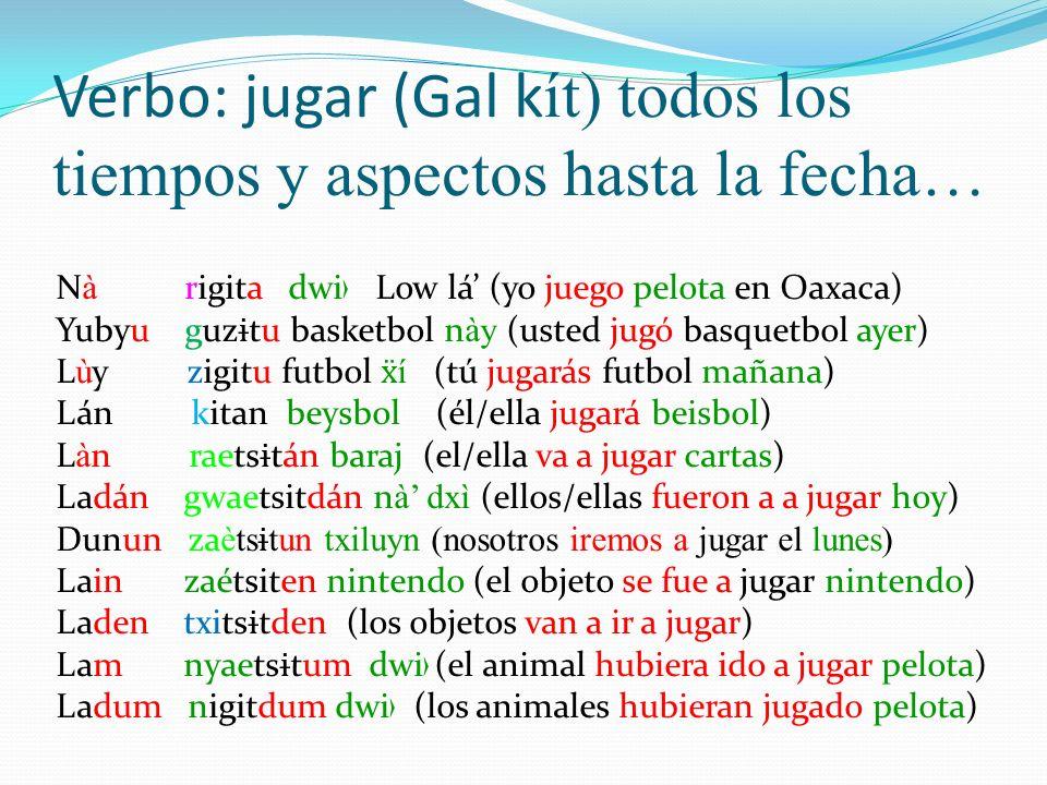 Verbo: jugar (Gal k ít) todos los tiempos y aspectos hasta la fecha… N à rigita dwi Low lá (yo juego pelota en Oaxaca) Yubyu guz ɨ tu basketbol n ày (