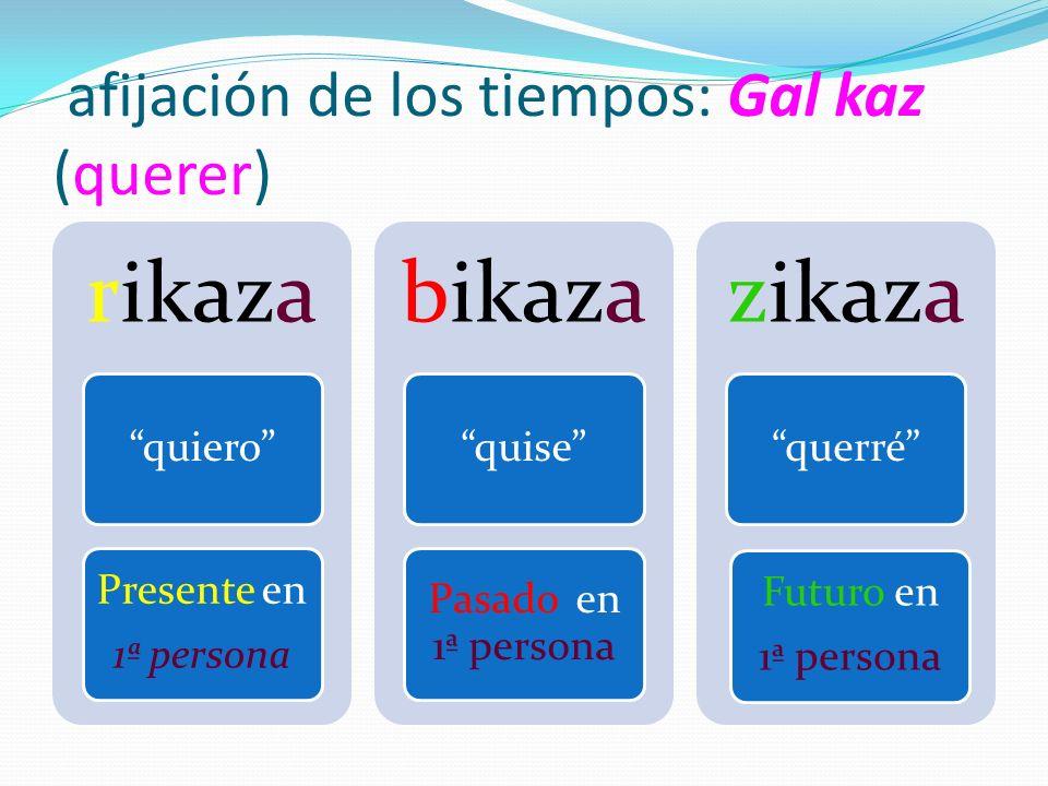 afijación de los tiempos: Gal kaz (querer) rikaza quiero Presente en 1ª persona bikaza quise Pasado en 1ª persona zikaza querré Futuro en 1ª persona