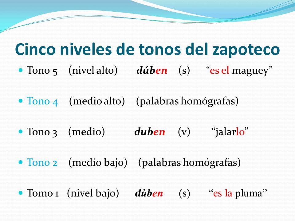 Cinco niveles de tonos del zapoteco Tono 5 (nivel alto) dúben (s) es el maguey Tono 4 (medio alto) (palabras homógrafas) Tono 3 (medio) duben (v) jala