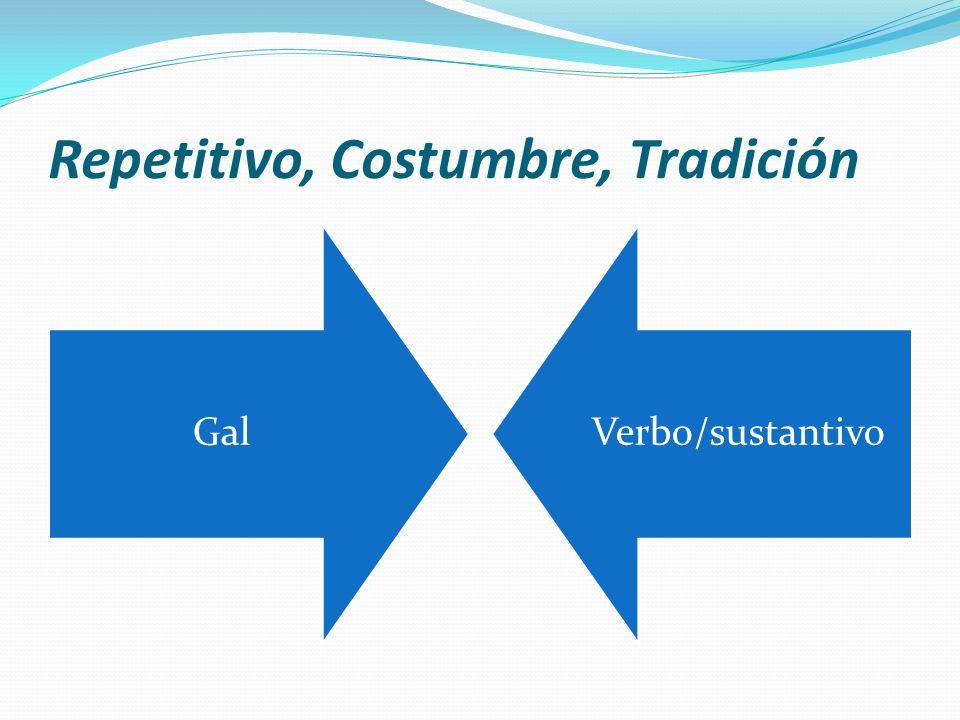 Repetitivo, Costumbre, Tradición GalVerbo/sustantivo