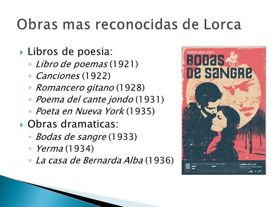 Libros de poesia: Libro de poemas (1921) Canciones (1922) Romancero gitano (1928) Poema del cante jondo (1931) Poeta en Nueva York (1935) Obras dramat