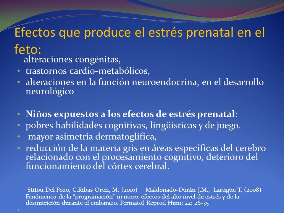 Efectos que produce el estrés prenatal en el feto: alteraciones congénitas, trastornos cardio-metabólicos, alteraciones en la función neuroendocrina,