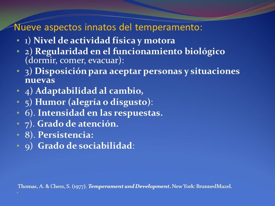 Nueve aspectos innatos del temperamento: 1) Nivel de actividad física y motora 2) Regularidad en el funcionamiento biológico (dormir, comer, evacuar):