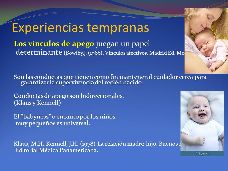 Experiencias tempranas Los vínculos de apego juegan un papel determinante (Bowlby,J. (1986). Vínculos afectivos, Madrid Ed. Morata Son las conductas q