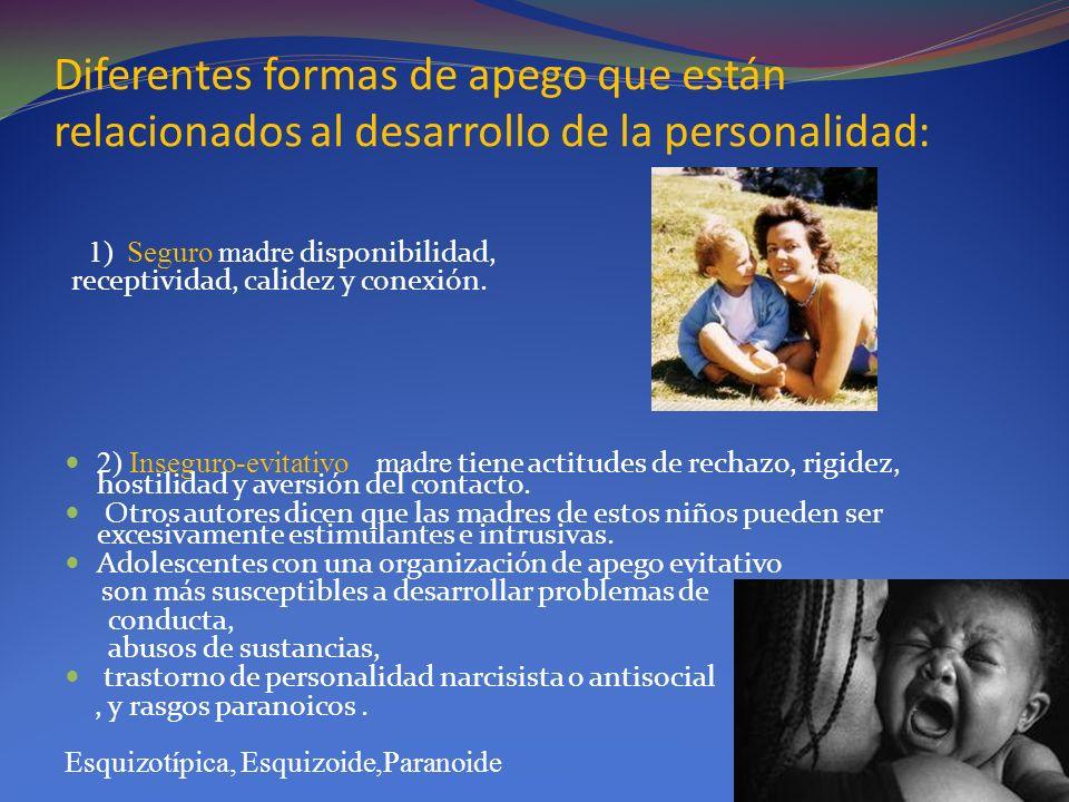 Diferentes formas de apego que están relacionados al desarrollo de la personalidad: 1) Seguro madre disponibilidad, receptividad, calidez y conexión.