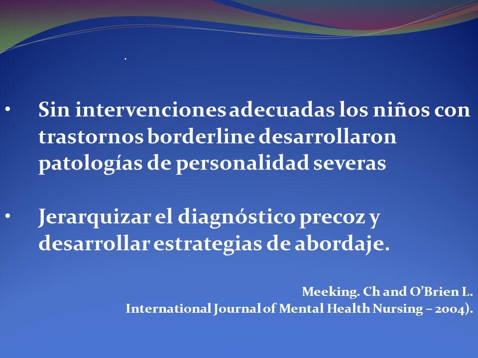 Sin intervenciones adecuadas los niños con trastornos borderline desarrollaron patologías de personalidad severas Jerarquizar el diagnóstico precoz y
