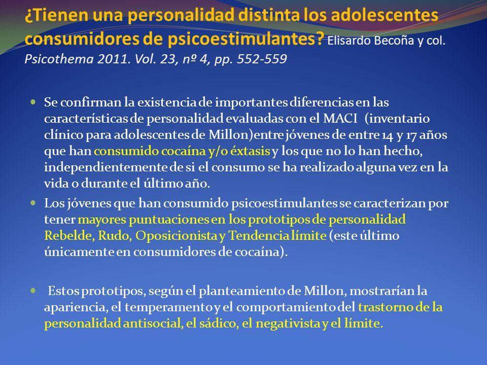 ¿Tienen una personalidad distinta los adolescentes consumidores de psicoestimulantes? Elisardo Becoña y col. Psicothema 2011. Vol. 23, nº 4, pp. 552-5