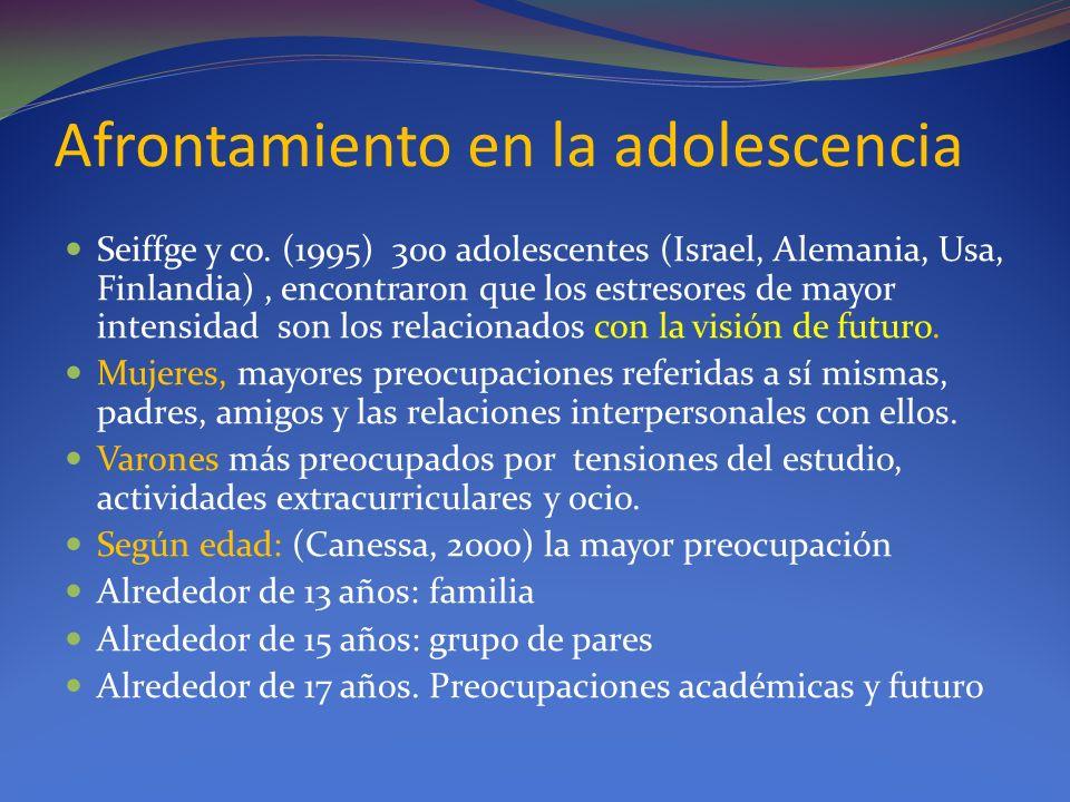 Afrontamiento en la adolescencia Seiffge y co. (1995) 300 adolescentes (Israel, Alemania, Usa, Finlandia), encontraron que los estresores de mayor int