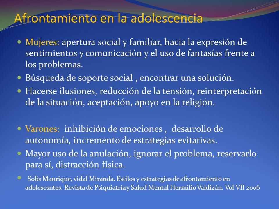 Afrontamiento en la adolescencia Mujeres: apertura social y familiar, hacia la expresión de sentimientos y comunicación y el uso de fantasías frente a
