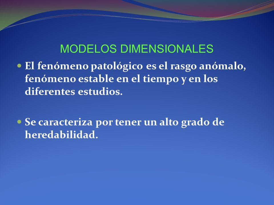 MODELOS DIMENSIONALES El fenómeno patológico es el rasgo anómalo, fenómeno estable en el tiempo y en los diferentes estudios. Se caracteriza por tener