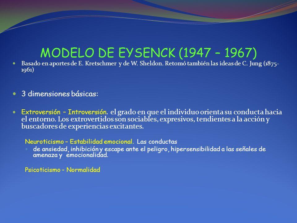MODELO DE EYSENCK (1947 – 1967) Basado en aportes de E. Kretschmer y de W. Sheldon. Retomó también las ideas de C. Jung (1875- 1961) 3 dimensiones bás