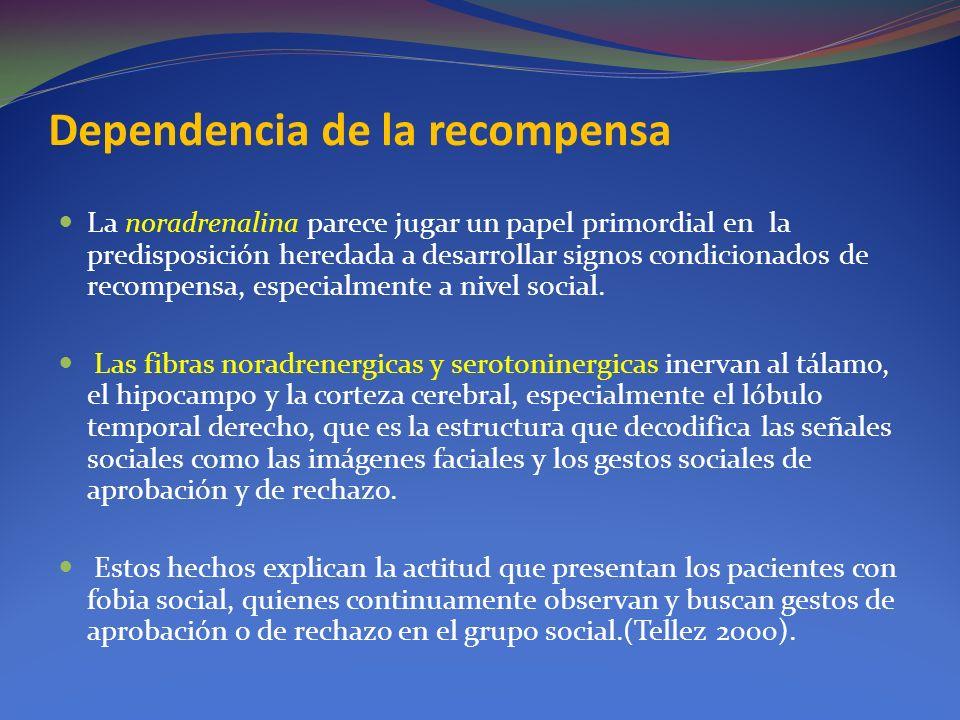 Dependencia de la recompensa La noradrenalina parece jugar un papel primordial en la predisposición heredada a desarrollar signos condicionados de rec