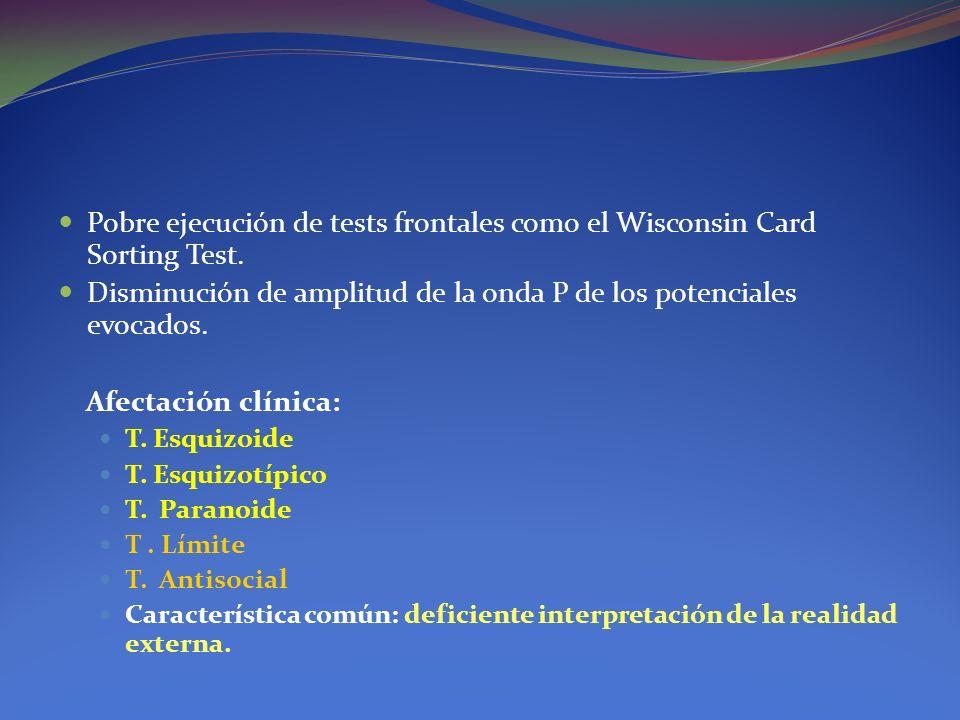 Pobre ejecución de tests frontales como el Wisconsin Card Sorting Test. Disminución de amplitud de la onda P de los potenciales evocados. Afectación c