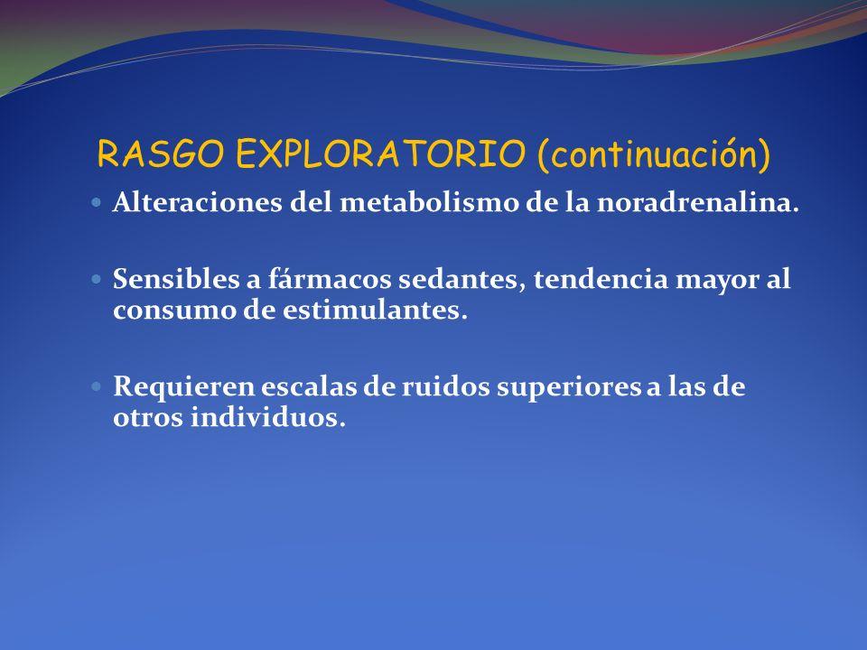 RASGO EXPLORATORIO (continuación) Alteraciones del metabolismo de la noradrenalina. Sensibles a fármacos sedantes, tendencia mayor al consumo de estim