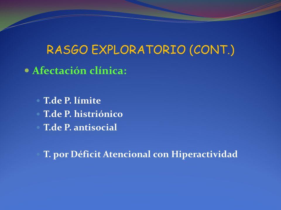 RASGO EXPLORATORIO (CONT.) Afectación clínica: T.de P. límite T.de P. histriónico T.de P. antisocial T. por Déficit Atencional con Hiperactividad