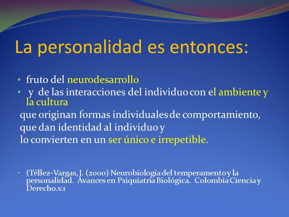 La personalidad es entonces: fruto del neurodesarrollo y de las interacciones del individuo con el ambiente y la cultura que originan formas individua