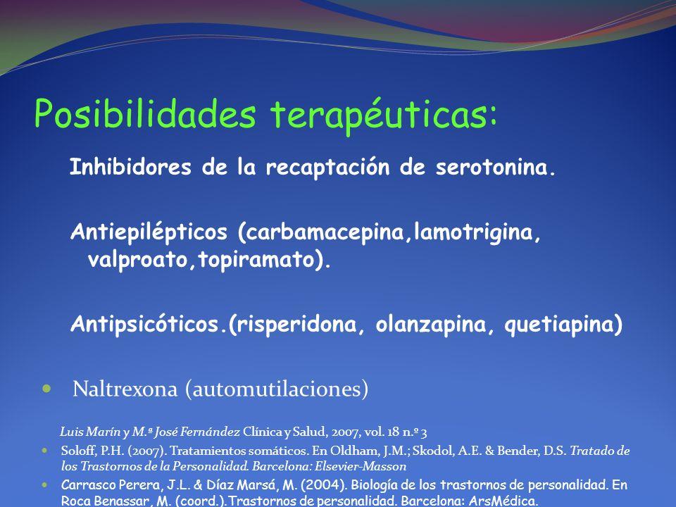 Posibilidades terapéuticas: Inhibidores de la recaptación de serotonina. Antiepilépticos (carbamacepina,lamotrigina, valproato,topiramato). Antipsicót