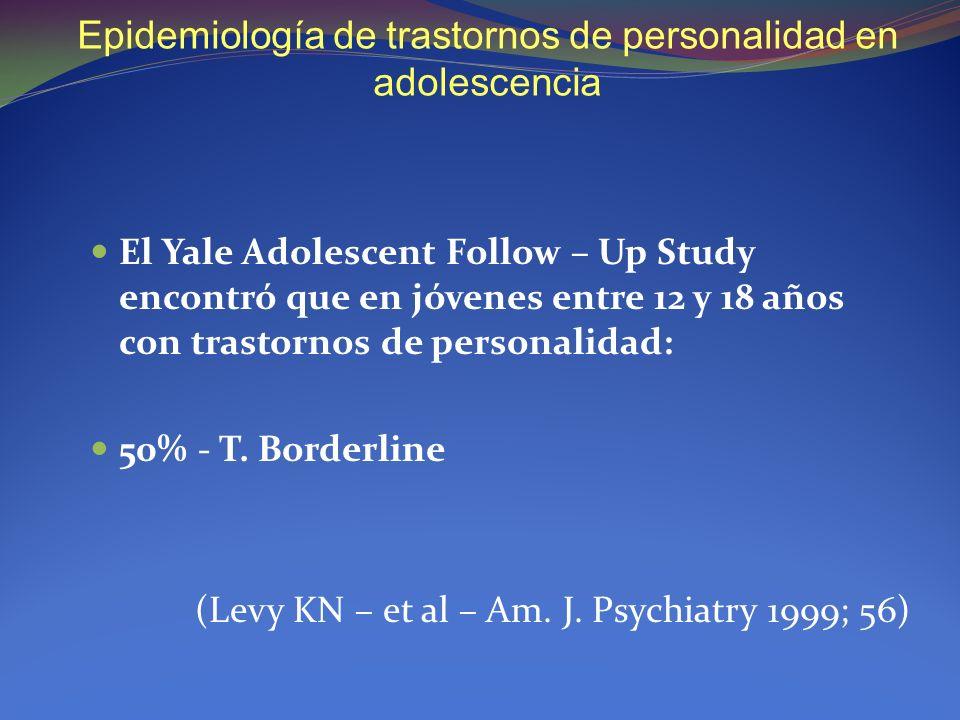 Epidemiología de trastornos de personalidad en adolescencia El Yale Adolescent Follow – Up Study encontró que en jóvenes entre 12 y 18 años con trasto