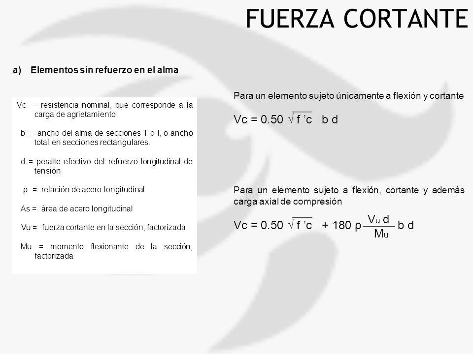 FUERZA CORTANTE a)Elementos sin refuerzo en el alma Para un elemento sujeto únicamente a flexión y cortante Vc = 0.50 f c b d Para un elemento sujeto