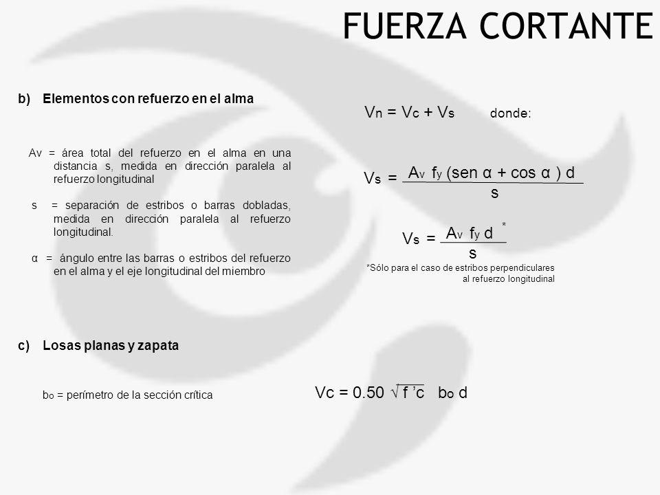 FUERZA CORTANTE b)Elementos con refuerzo en el alma c)Losas planas y zapata V n = V c + V s donde: A v f y d s V s = Av = área total del refuerzo en e