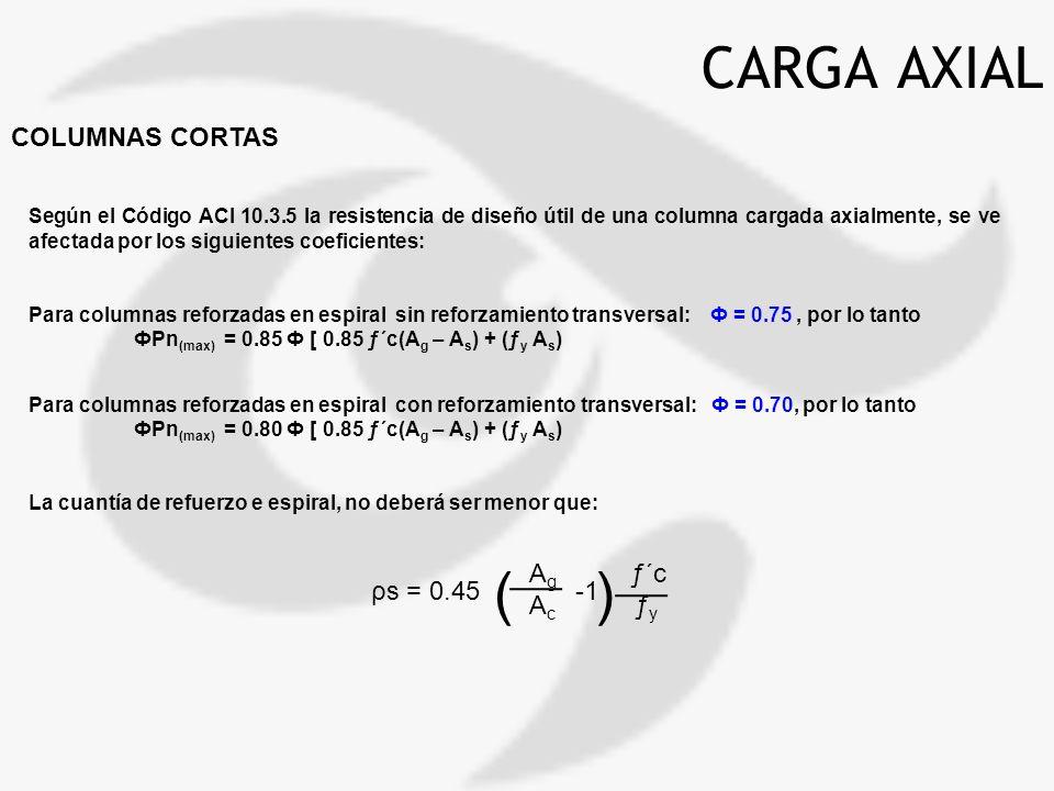 CARGA AXIAL COLUMNAS CORTAS Según el Código ACI 10.3.5 la resistencia de diseño útil de una columna cargada axialmente, se ve afectada por los siguien