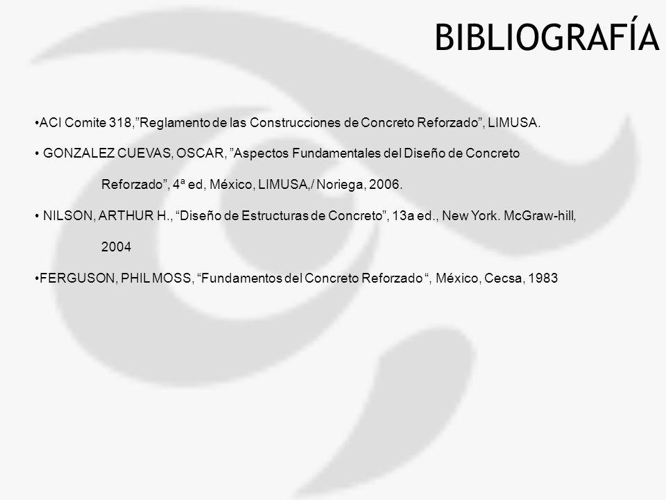 BIBLIOGRAFÍA ACI Comite 318,Reglamento de las Construcciones de Concreto Reforzado, LIMUSA. GONZALEZ CUEVAS, OSCAR, Aspectos Fundamentales del Diseño