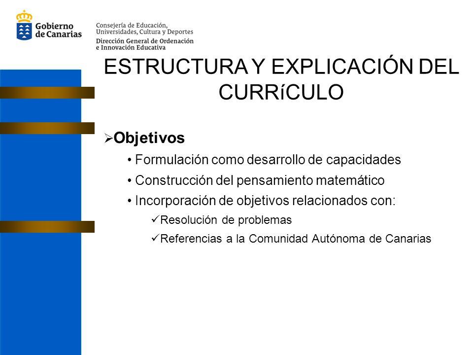 ESTRUCTURA Y EXPLICACIÓN DEL CURRíCULO Objetivos Formulación como desarrollo de capacidades Construcción del pensamiento matemático Incorporación de objetivos relacionados con: Resolución de problemas Referencias a la Comunidad Autónoma de Canarias