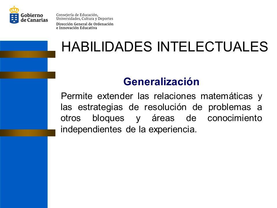 Generalización Permite extender las relaciones matemáticas y las estrategias de resolución de problemas a otros bloques y áreas de conocimiento independientes de la experiencia.