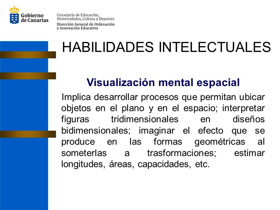 Visualización mental espacial Implica desarrollar procesos que permitan ubicar objetos en el plano y en el espacio; interpretar figuras tridimensionales en diseños bidimensionales; imaginar el efecto que se produce en las formas geométricas al someterlas a trasformaciones; estimar longitudes, áreas, capacidades, etc.