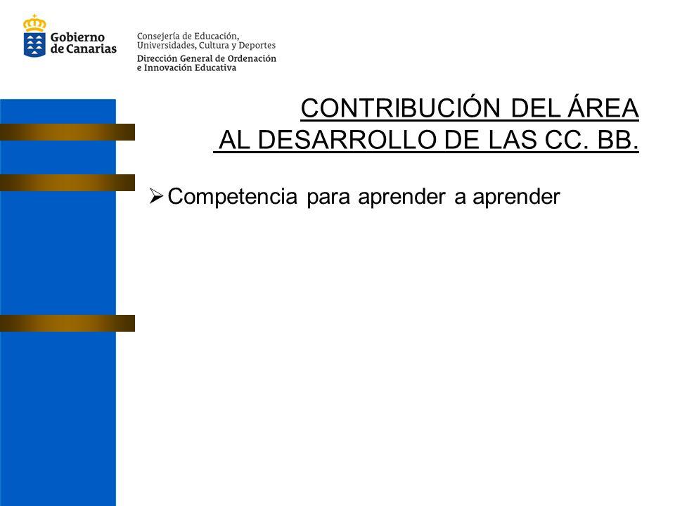 CONTRIBUCIÓN DEL ÁREA AL DESARROLLO DE LAS CC. BB. Competencia para aprender a aprender