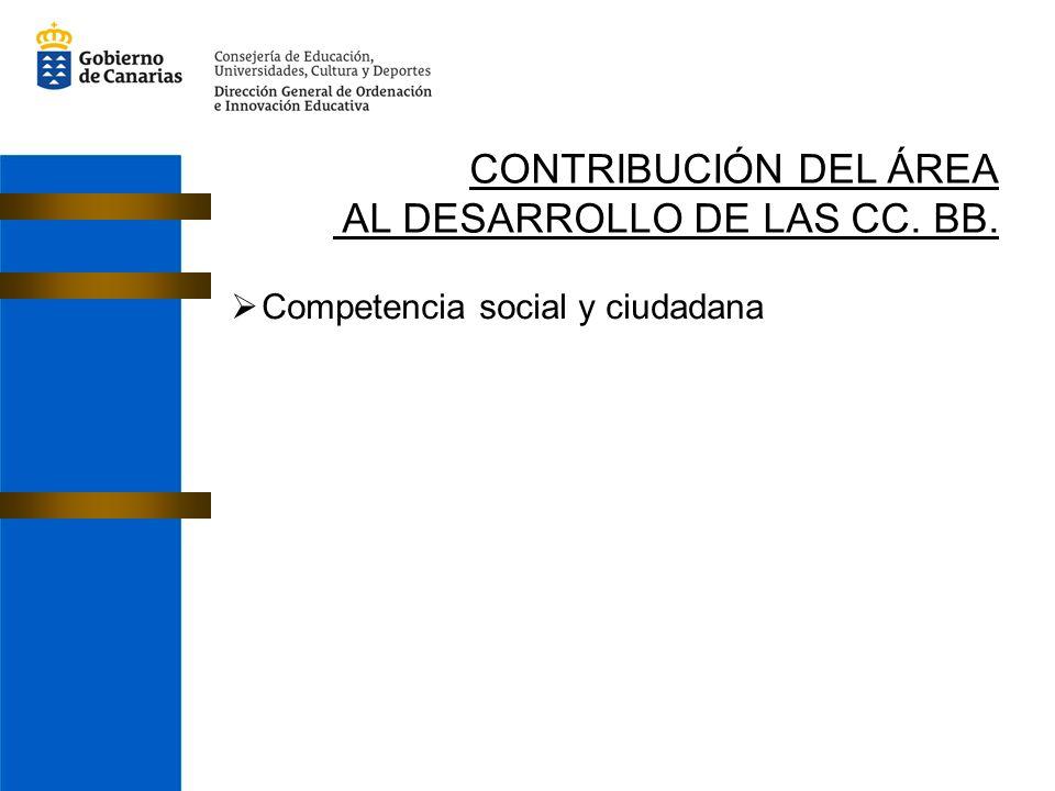 CONTRIBUCIÓN DEL ÁREA AL DESARROLLO DE LAS CC. BB. Competencia social y ciudadana