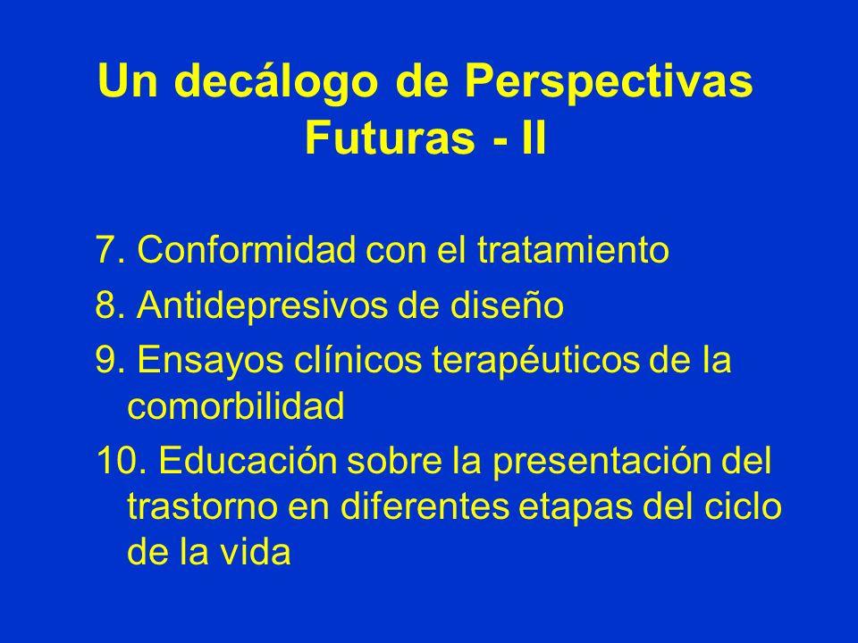 Un decálogo de Perspectivas Futuras - I 1.Preescolar, adolescencia y adultos 2.Criterios diagnósticos 3.Estudios terapéuticos 4.Explorar los diversos