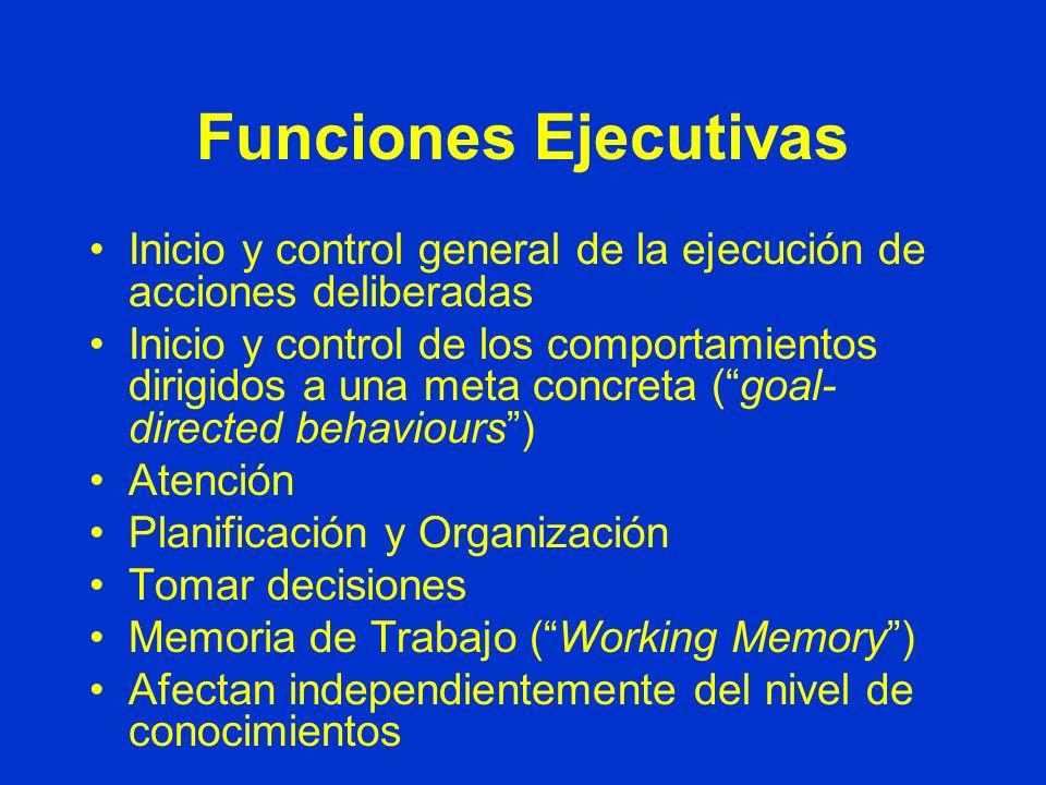 Funciones Ejecutivas Inicio y control general de la ejecución de acciones deliberadas Inicio y control de los comportamientos dirigidos a una meta concreta (goal- directed behaviours) Atención Planificación y Organización Tomar decisiones Memoria de Trabajo (Working Memory) Afectan independientemente del nivel de conocimientos