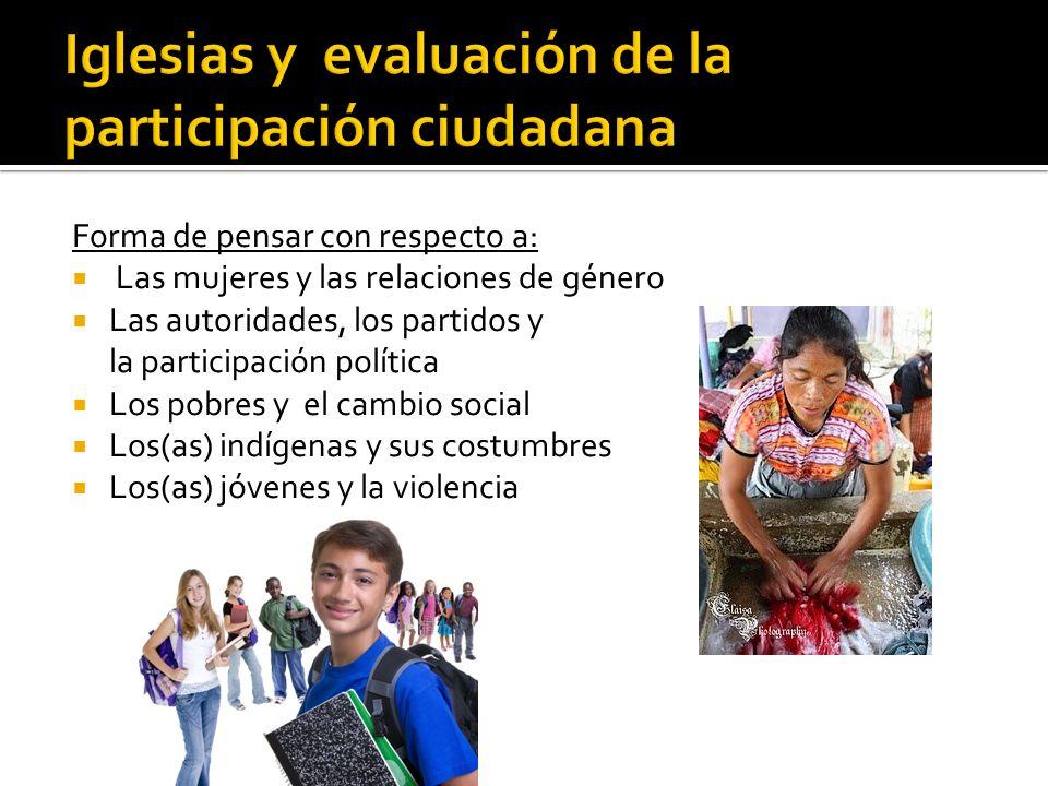Forma de pensar con respecto a: Las mujeres y las relaciones de género Las autoridades, los partidos y la participación política Los pobres y el cambi