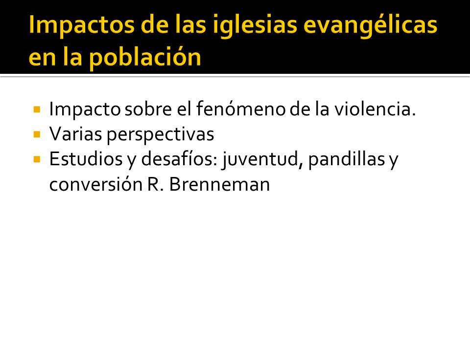 Impacto sobre el fenómeno de la violencia. Varias perspectivas Estudios y desafíos: juventud, pandillas y conversión R. Brenneman