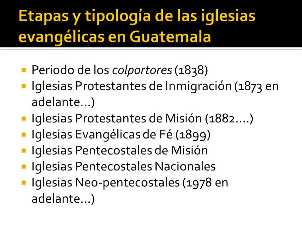 Periodo de los colportores (1838) Iglesias Protestantes de Inmigración (1873 en adelante…) Iglesias Protestantes de Misión (1882….) Iglesias Evangélic