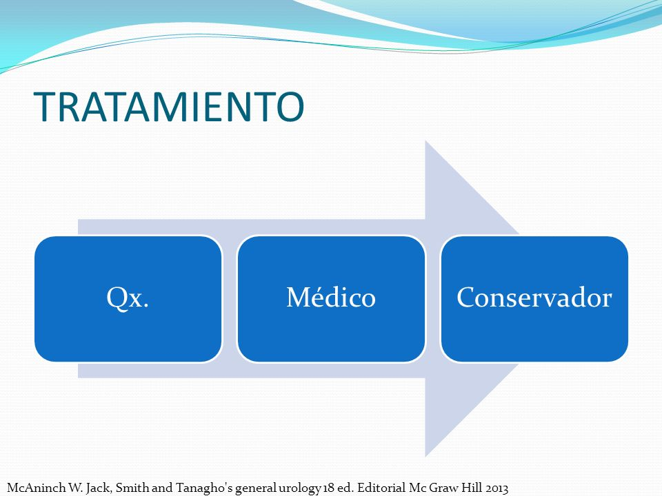 TRATAMIENTO Qx.MédicoConservador McAninch W.Jack, Smith and Tanagho s general urology 18 ed.