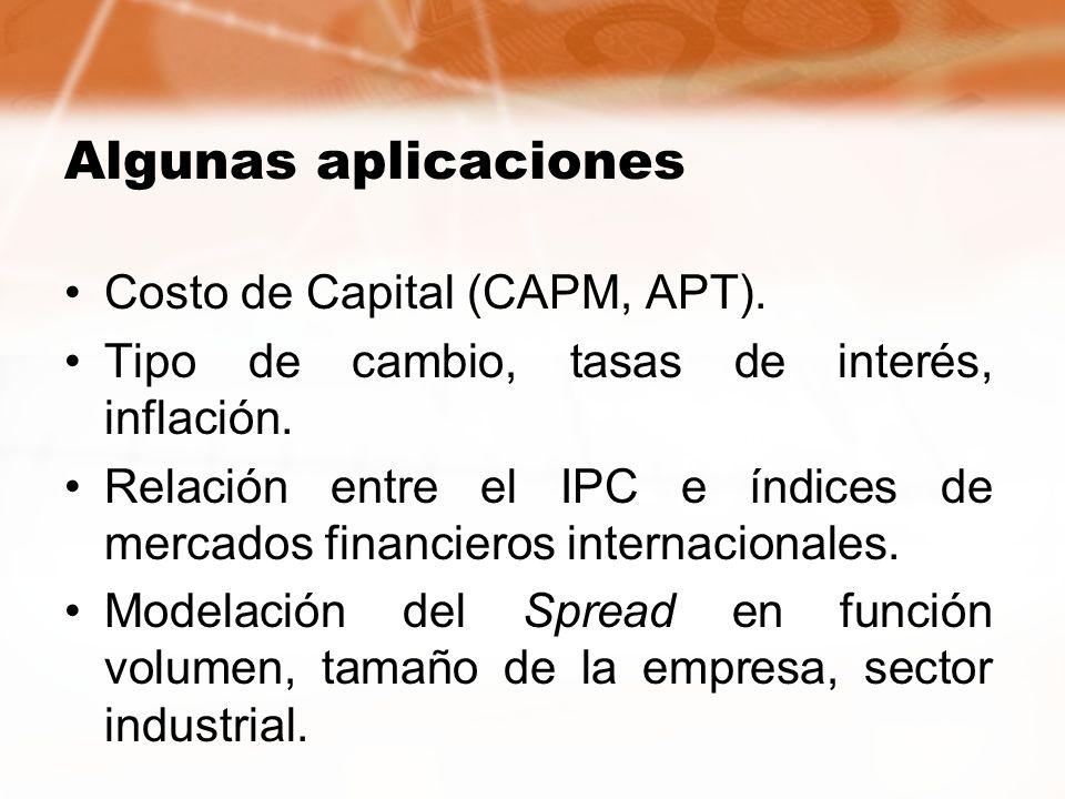 Algunas aplicaciones Costo de Capital (CAPM, APT). Tipo de cambio, tasas de interés, inflación. Relación entre el IPC e índices de mercados financiero