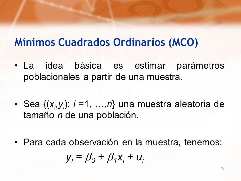 17 Mínimos Cuadrados Ordinarios (MCO) La idea básica es estimar parámetros poblacionales a partir de una muestra. Sea {(x i,y i ): i =1, …,n} una mues
