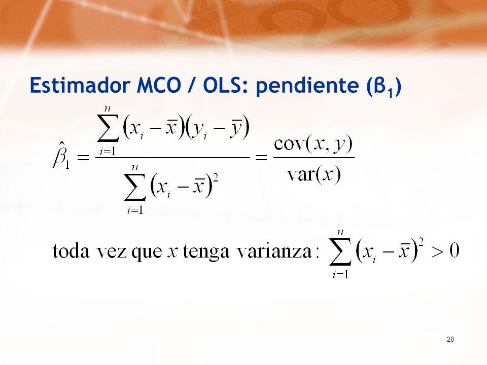 20 Estimador MCO / OLS: pendiente (β 1 )