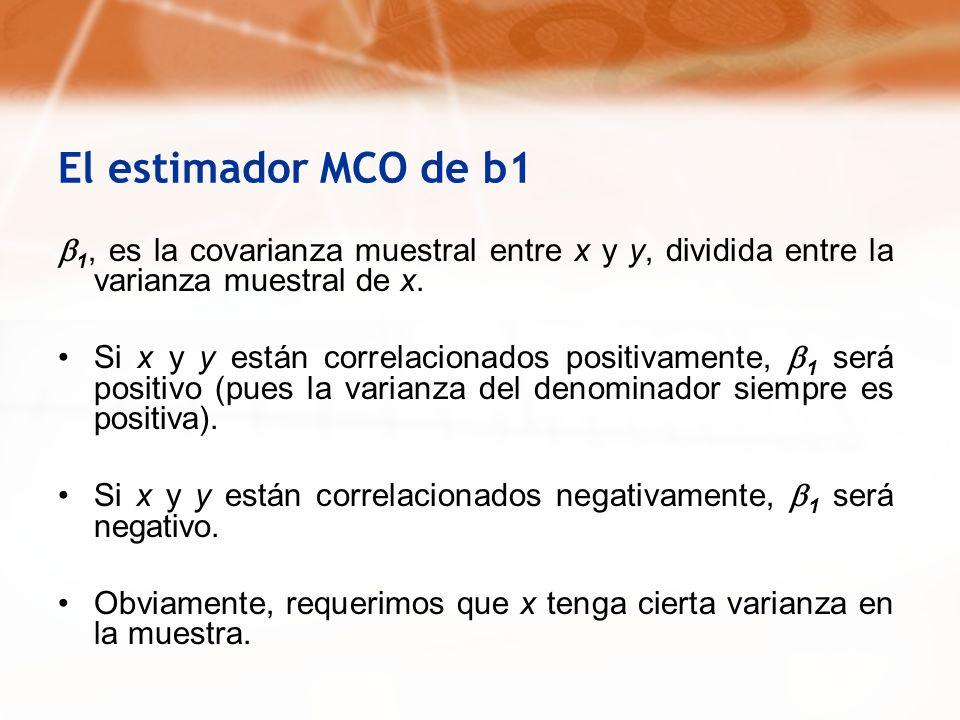 El estimador MCO de b1 1, es la covarianza muestral entre x y y, dividida entre la varianza muestral de x. Si x y y están correlacionados positivament
