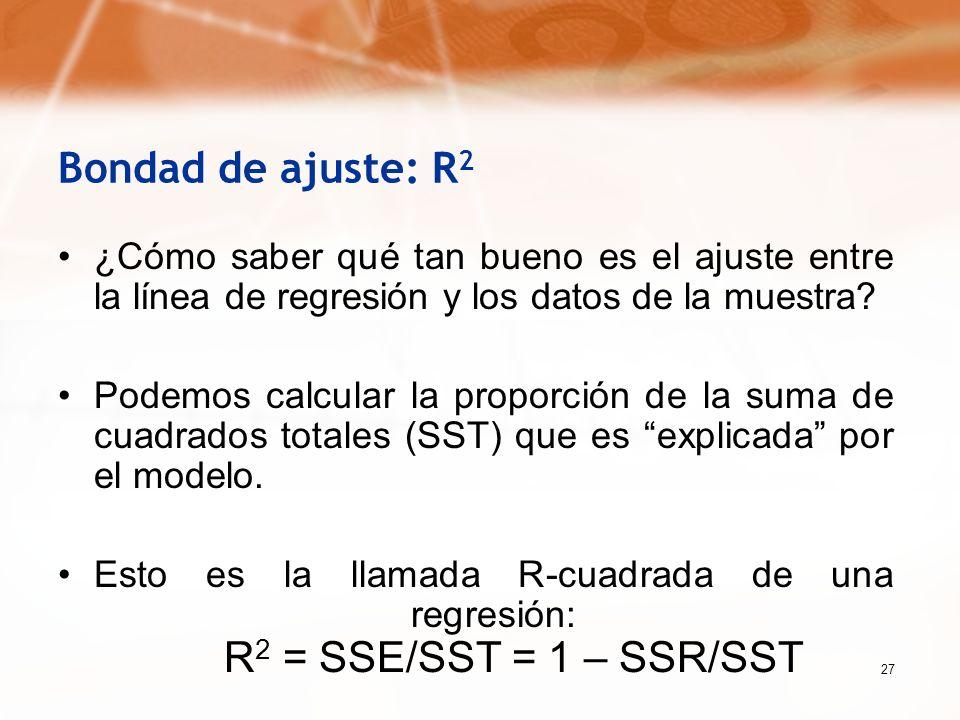 27 Bondad de ajuste: R 2 ¿Cómo saber qué tan bueno es el ajuste entre la línea de regresión y los datos de la muestra? Podemos calcular la proporción