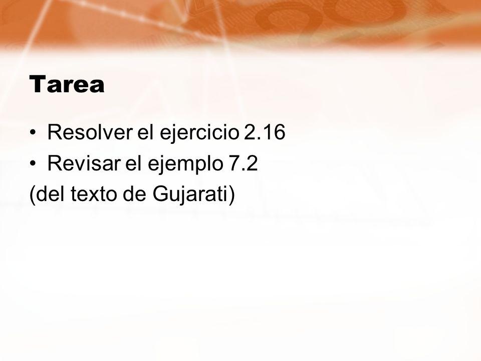 Tarea Resolver el ejercicio 2.16 Revisar el ejemplo 7.2 (del texto de Gujarati)