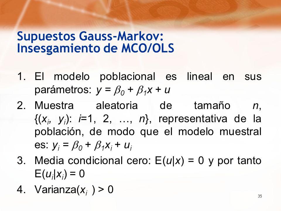 35 Supuestos Gauss-Markov: Insesgamiento de MCO/OLS 1.El modelo poblacional es lineal en sus parámetros: y = 0 + 1 x + u 2.Muestra aleatoria de tamaño