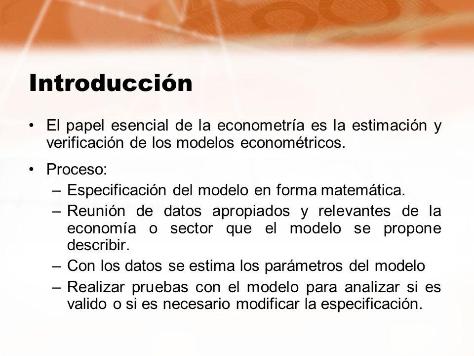 Introducción El papel esencial de la econometría es la estimación y verificación de los modelos econométricos. Proceso: –Especificación del modelo en