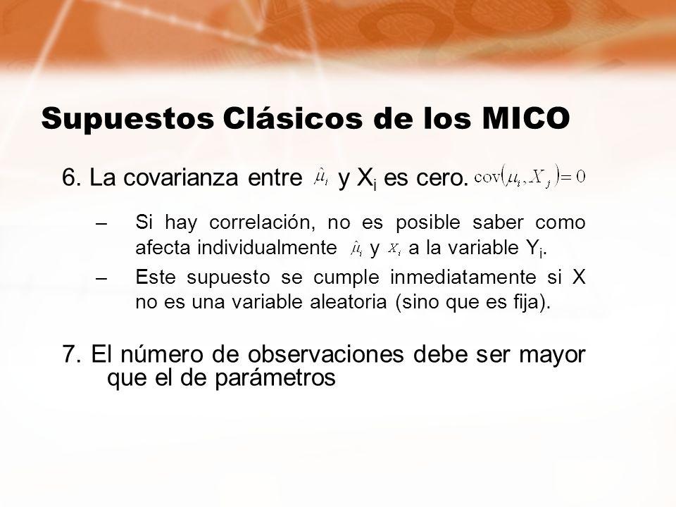 6. La covarianza entre y X i es cero. –Si hay correlación, no es posible saber como afecta individualmente y a la variable Y i. –Este supuesto se cump