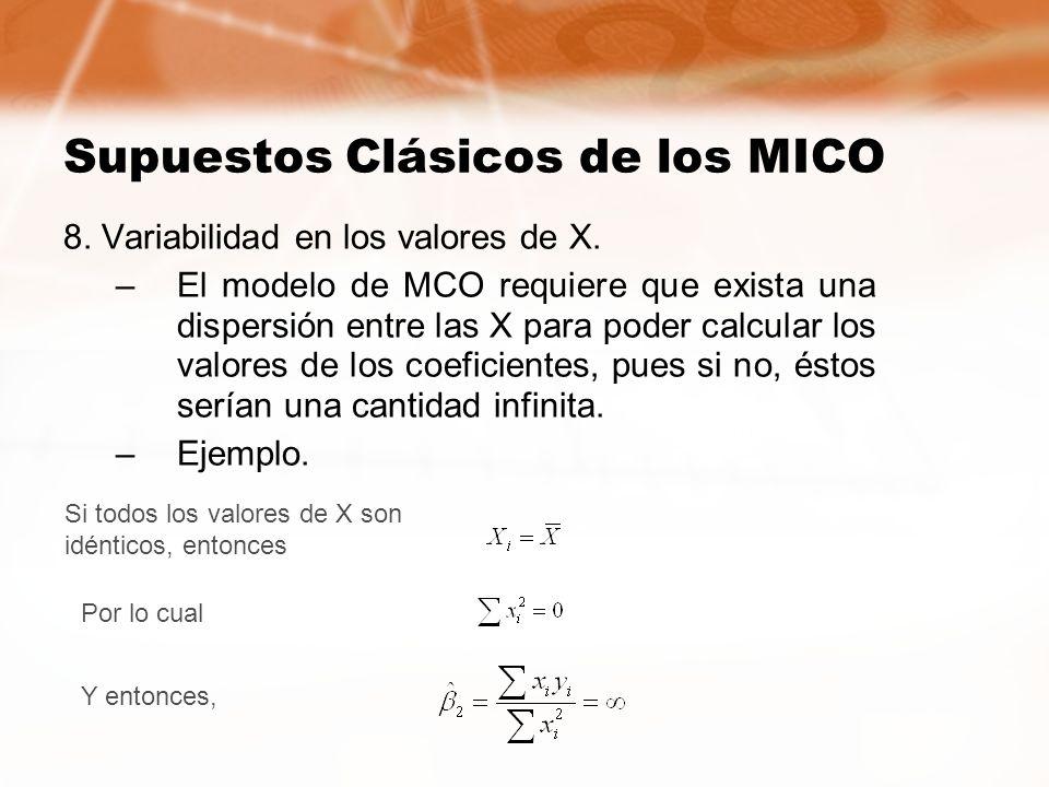 Supuestos Clásicos de los MICO 8. Variabilidad en los valores de X. –El modelo de MCO requiere que exista una dispersión entre las X para poder calcul