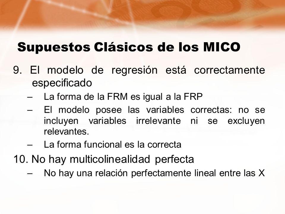 Supuestos Clásicos de los MICO 9. El modelo de regresión está correctamente especificado –La forma de la FRM es igual a la FRP –El modelo posee las va